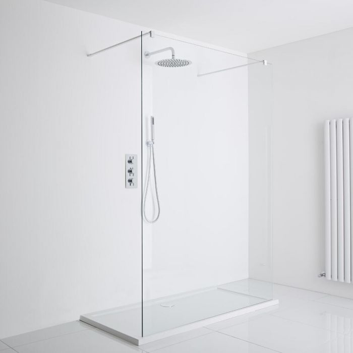 Milano Bianco - 1200mm Walk In Shower with 1200x900mm Pearlstone Tray