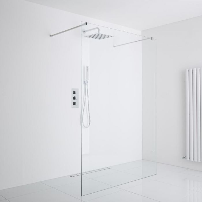 Milano Portland Floating Wet-Room Shower Enclosure (1400mm Glass) - Inc. Drain