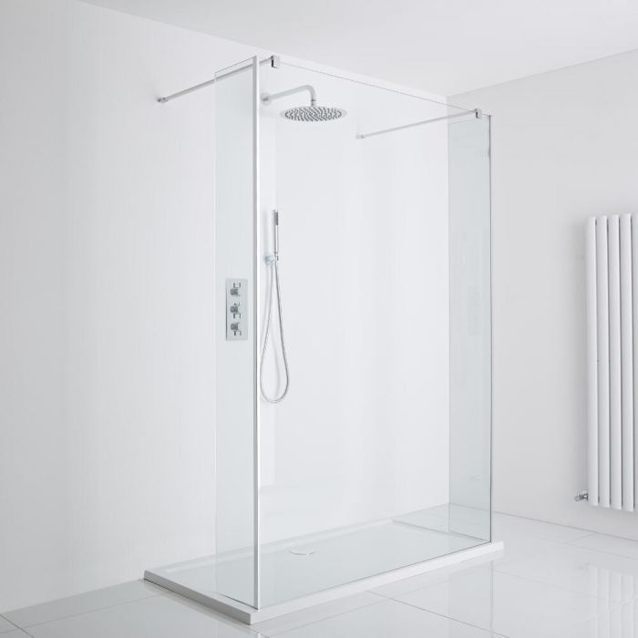 Milano Portland Floating Walk-In Shower Enclosure (1400 x 800mm) - Includes Tray