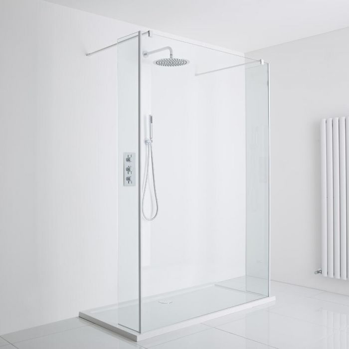 Milano Bianco - Floating Walk-In Shower Enclosure (1000 x 800mm) - Includes Tray
