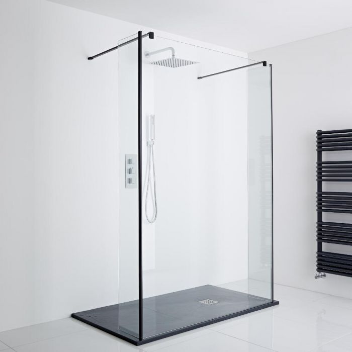 Milano Nero Floating Walk-In Shower Enclosure (1400 x 800mm) - Includes Slate Tray