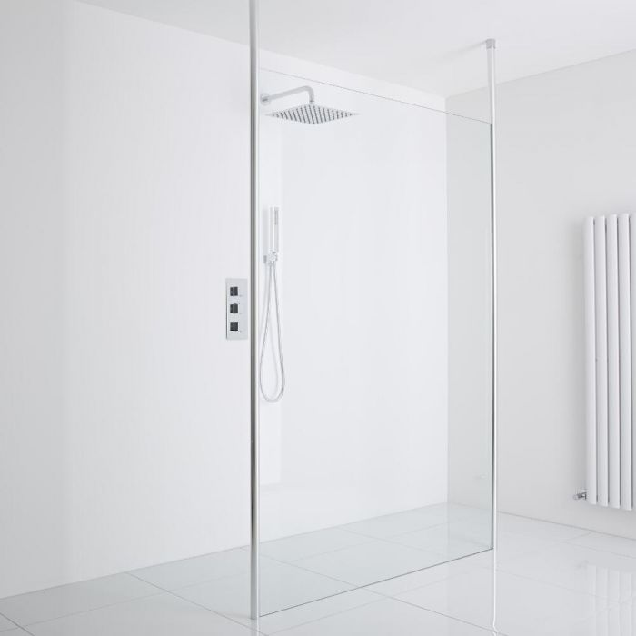 Milano Alto Floating Wet-Room Shower Enclosure (1200mm Glass) - Inc. Drain