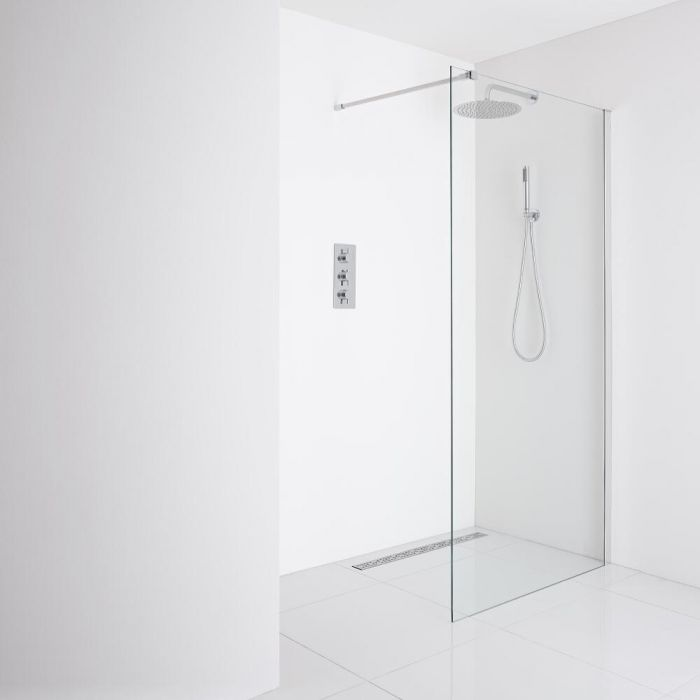 Milano Portland Recessed Wet-Room Shower Enclosure (900mm Glass) - Inc. Drain
