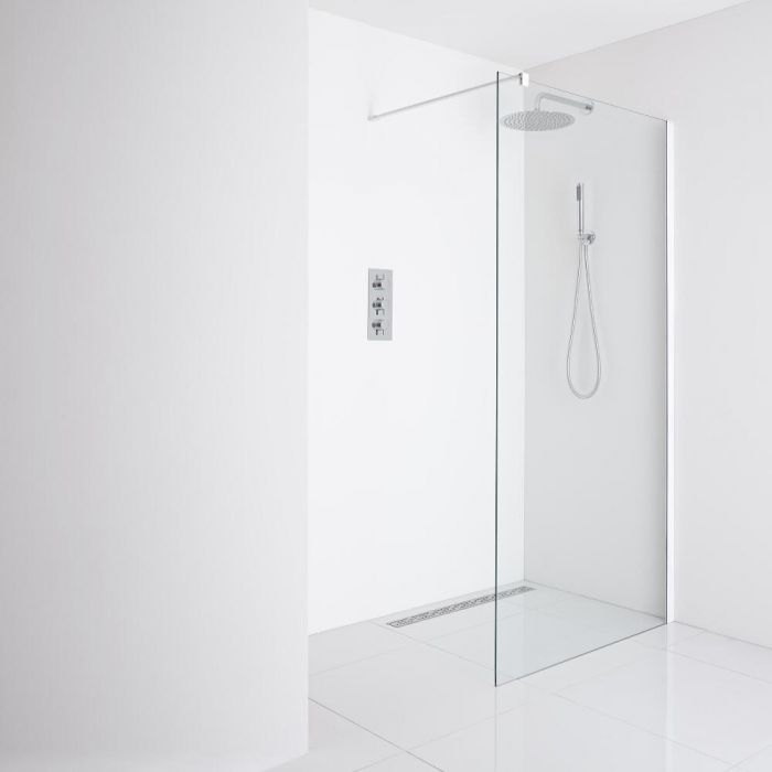 Milano Bianco Recessed Wet-Room Shower Enclosure (1200mm Glass) - Inc. Drain
