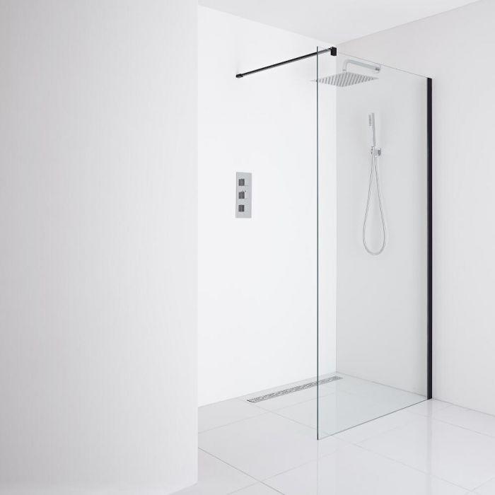 Milano Nero Recessed Wet-Room Shower Enclosure (1000mm Glass) - Inc. Drain