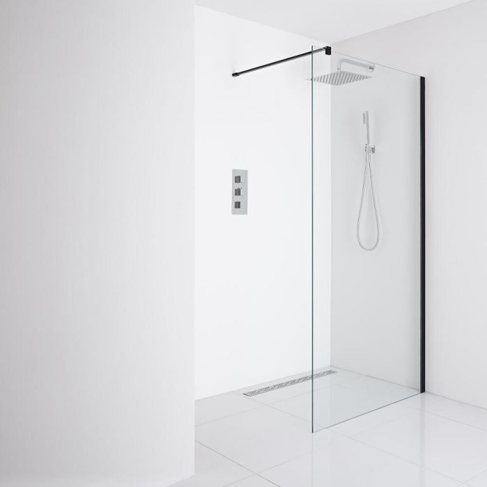Milano Nero - Recessed Wet-Room Shower Enclosure (1400mm Glass) - Inc. Drain