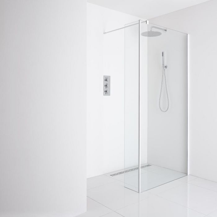 Milano Bianco Recessed Wet-Room Shower Enclosure (1000mm Glass) - Inc. Drain & Return Panel