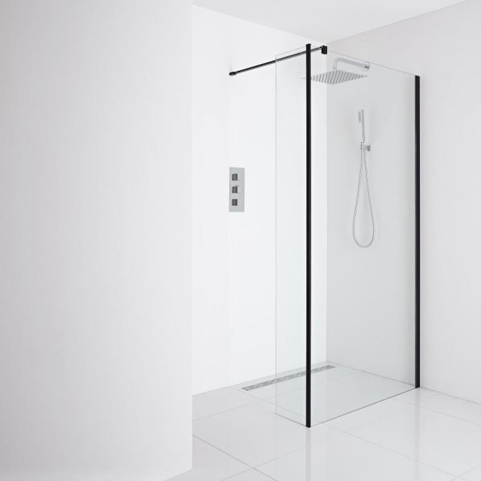 Milano Nero - Recessed Wet-Room Shower Enclosure (1000mm Glass) - Inc. Drain & Return Panel - Choice of Drain