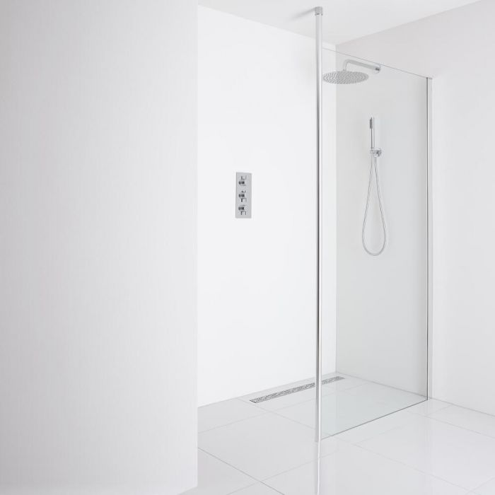 Milano Alto - Recessed Wet-Room Shower Enclosure (1200mm Glass) - Choice of Drain