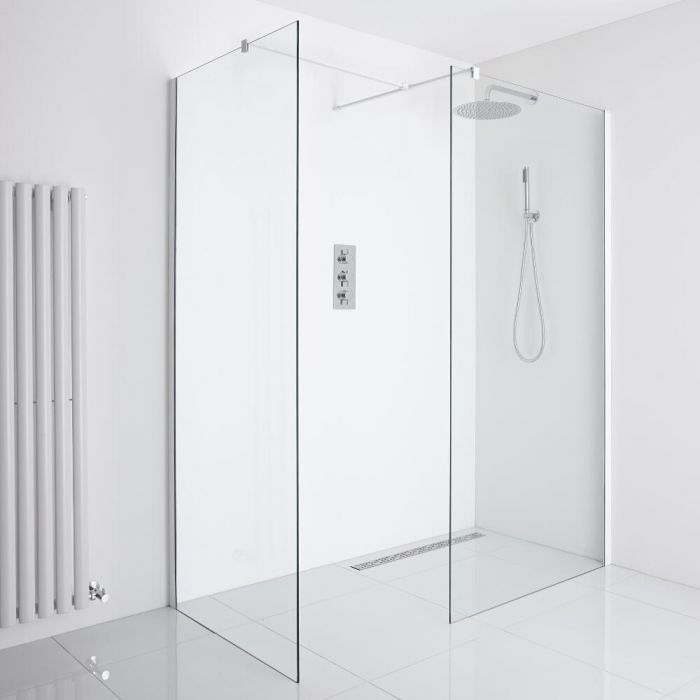 Milano Bianco Corner Wet-Room Shower Enclosure (900mm x 800mm Glass) - Inc. Drain