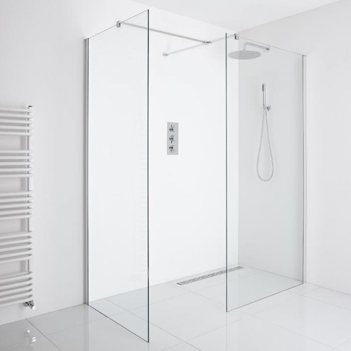 Milano Portland - Corner Wet-Room Shower Enclosure (1200mm x 800mm Glass) - Inc. Drain