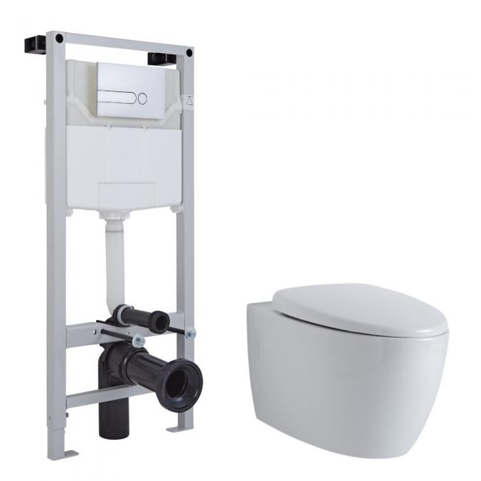 Milano Altham Wall Hung Toilet, Tall Wall Frame and Choice of Flush Plate