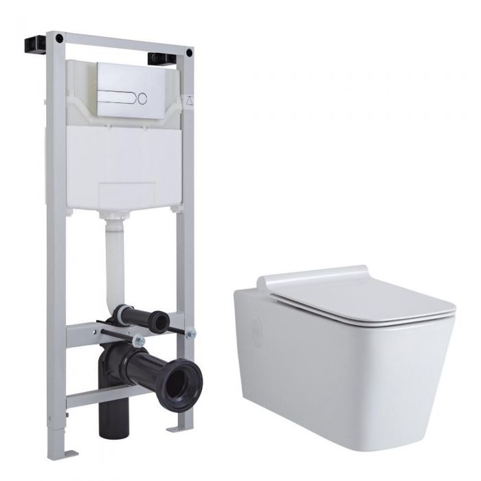 Milano Elswick Wall Hung Toilet, Tall Wall Frame and Choice of Flush Plate