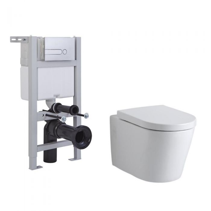 Milano Farington Wall Hung Toilet, Short Wall Frame and Choice of Flush Plate
