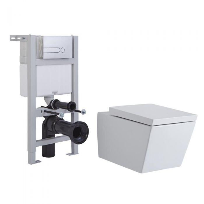 Milano Dalton Wall Hung Toilet, Short Wall Frame and Choice of Flush Plate