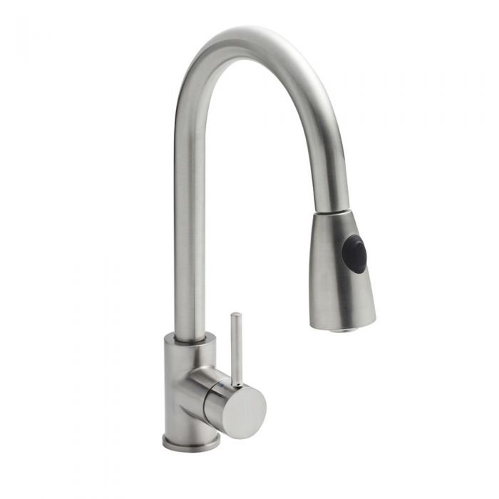 Milano Brushed Steel Pull Out Kitchen Mixer Without Waste