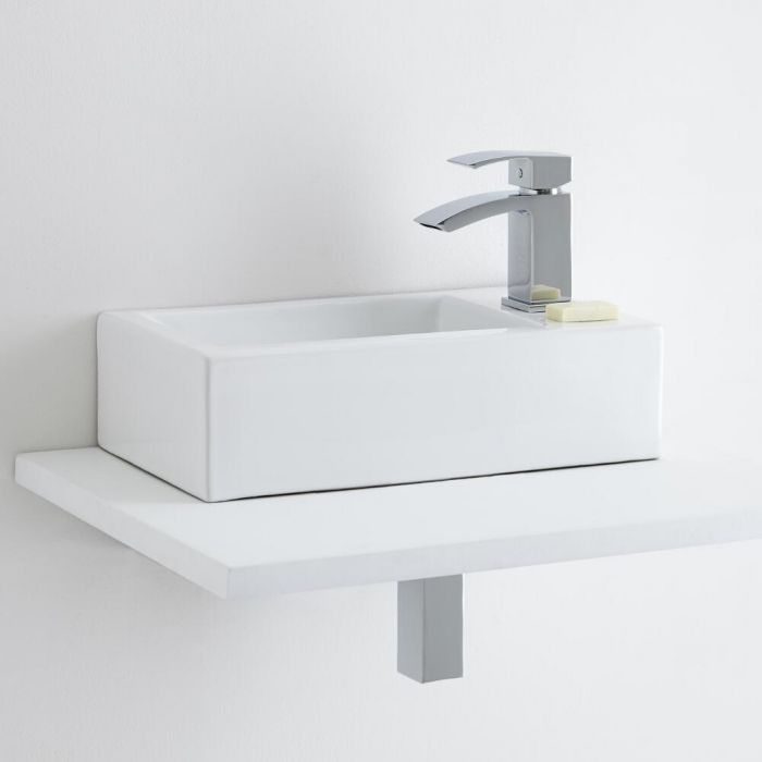 Milano Elswick Ceramic Countertop Basin with Wick Mini Mono Basin Mixer Tap