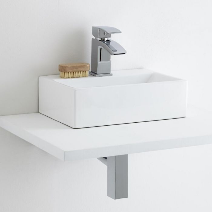 Milano Elswick Countertop Basin with Wick Mini Mono Basin Mixer Tap