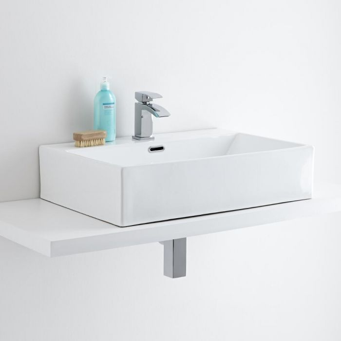 Milano Elswick - White Modern Rectangular Countertop Basin with Mini Mixer Tap - 600mm x 420mm (1 Tap-Hole)