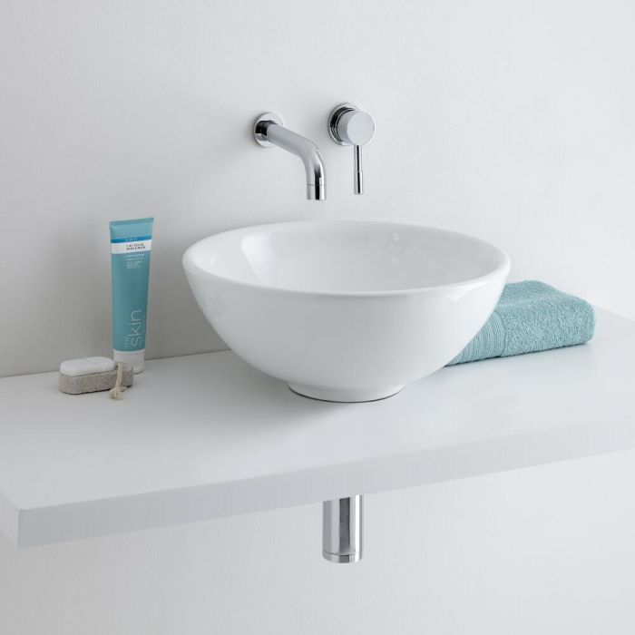 Milano Irwell - White Modern Round Countertop Basin with Wall Hung Mixer Tap - 400mm x 400mm (No Tap-Holes)
