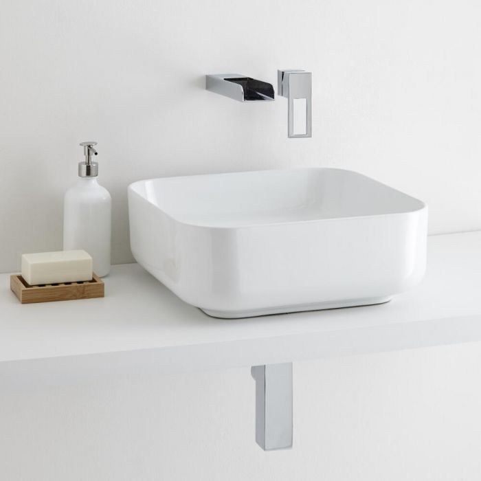 Milano Longton Square Countertop Basin with Parade Wall Mounted Basin Tap