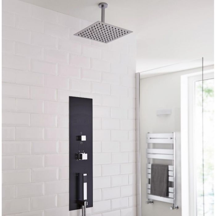 Milano Lisse Concealed Shower Tower with 200mm Square Head and Ceiling Arm