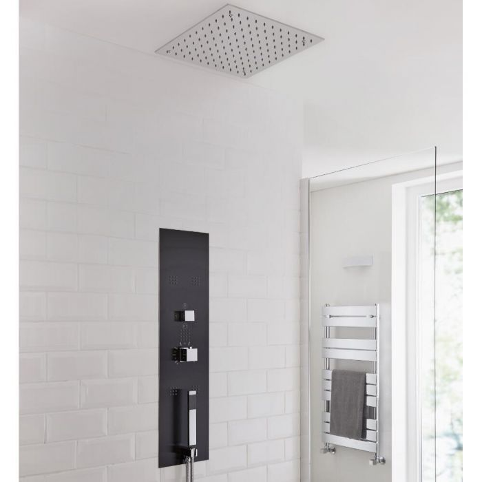 Milano Lisse Concealed Shower Tower with 400mm Square Recessed Ceiling Head