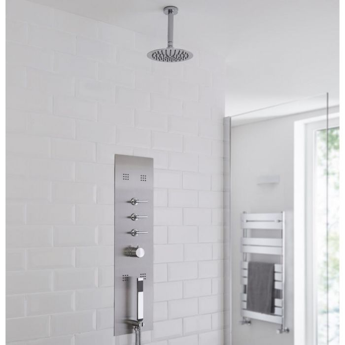 Milano Lisse - Concealed Shower Tower with 200mm Round Head and Ceiling Arm