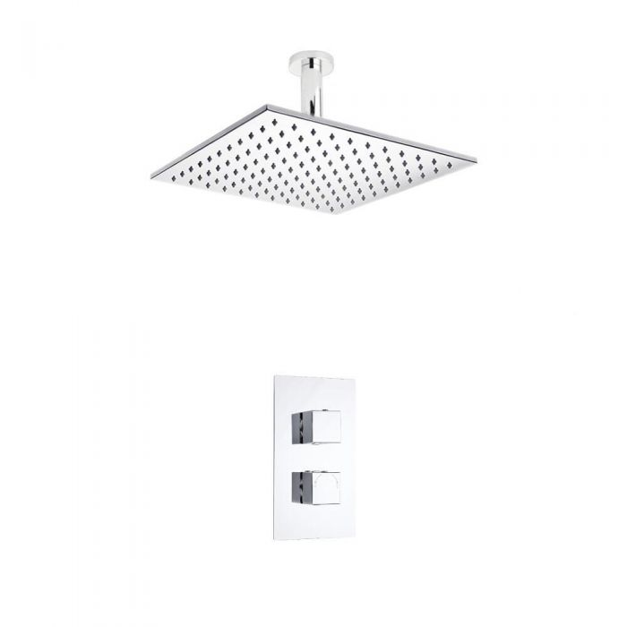 Milano Square Twin Thermostatic Shower Valve With 300mm Shower Head and Ceiling Arm