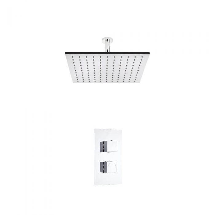 Milano Square Twin Thermostatic Shower Valve With 400mm Shower Head and Ceiling Arm
