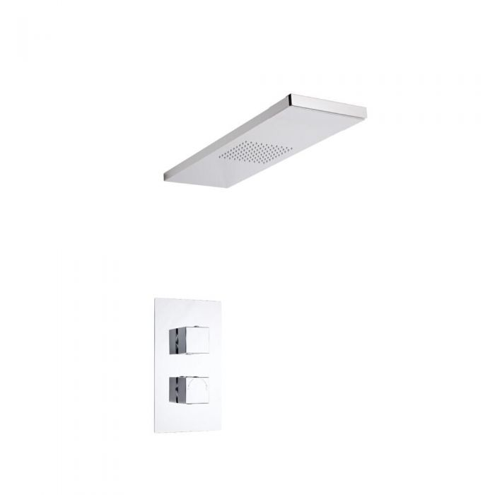 Milano Square Twin Thermostatic Shower Valve With Glass Grabbing Shower Head