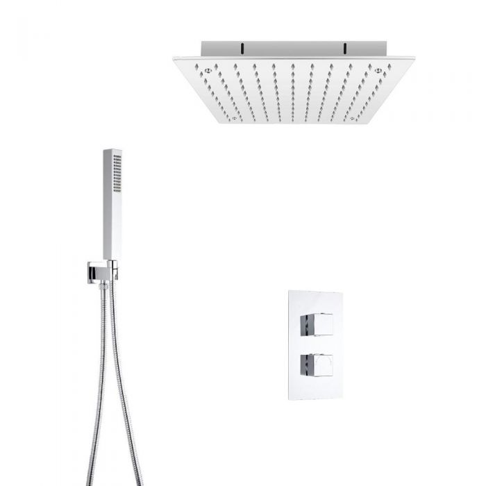 Milano Square Twin Diverter Thermostatic Valve, 400mm Recessed Head and Hand Shower