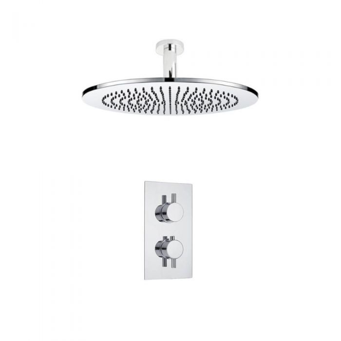 Milano Round Twin Thermostatic Shower Valve With 300mm Shower Head and Ceiling Arm