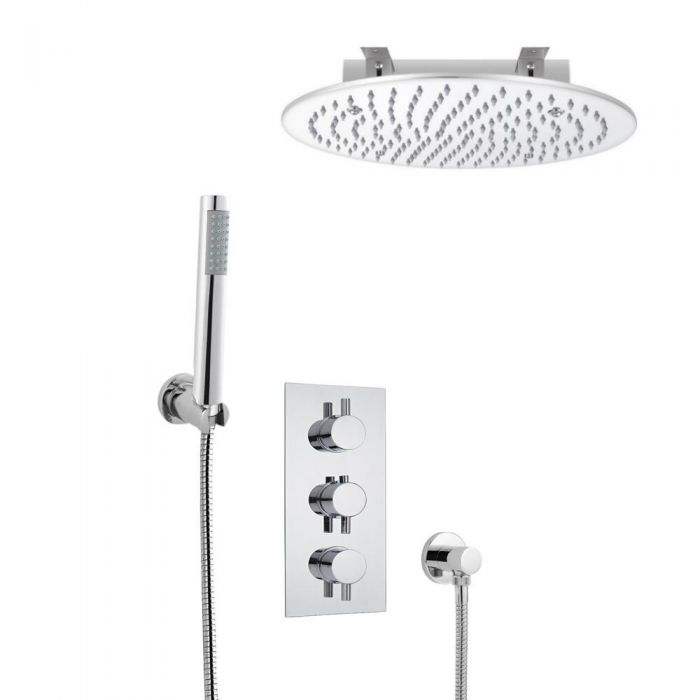 Milano Round Triple Thermostatic Shower Valve, 400mm Recessed Shower Head and Hand Shower