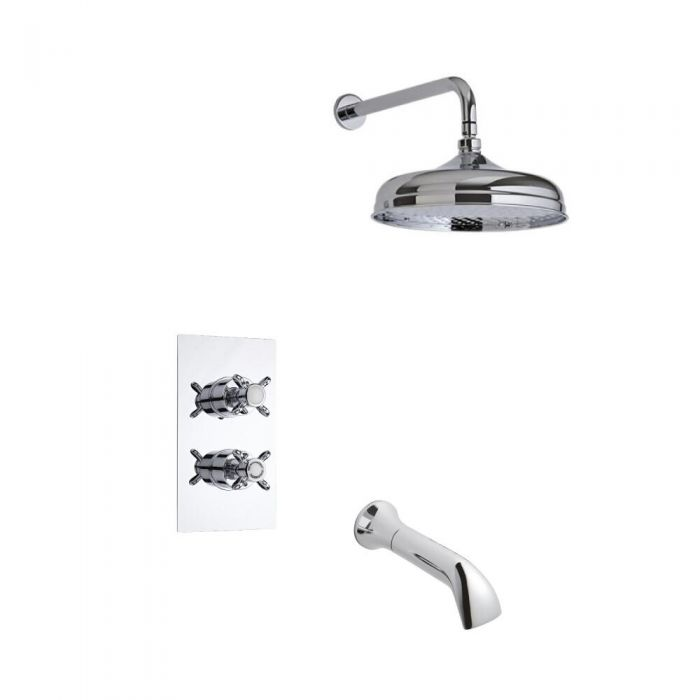 Milano Traditional Twin Diverter Thermostatic Shower Valve with 150mm Head, Wall Arm and Spout