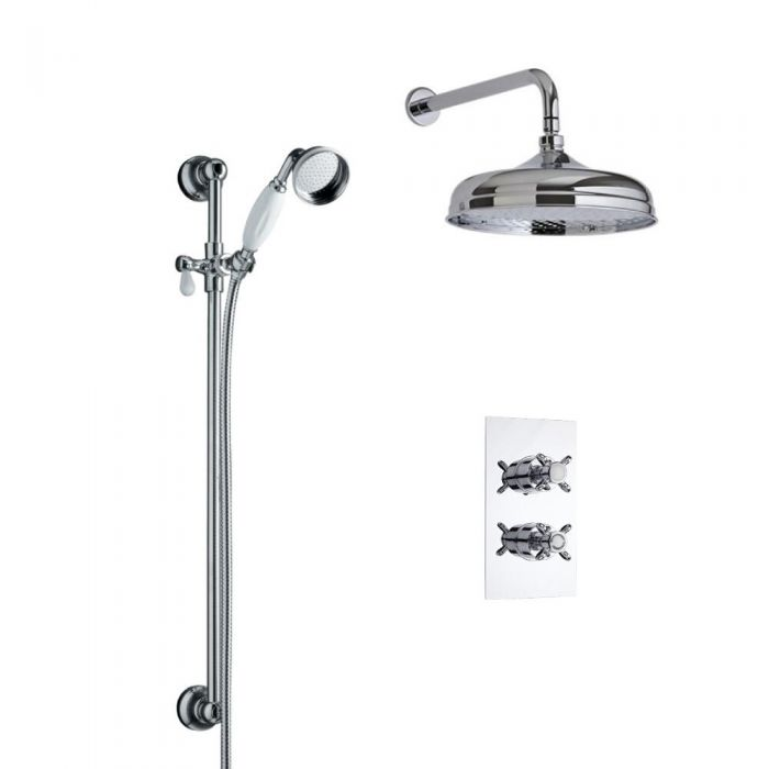 Milano Traditional Twin Diverter Thermostatic Valve with 150mm Head, Wall Arm and Slide Rail Kit