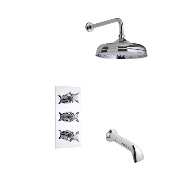 Milano Traditional Triple Thermostatic Valve, 300mm Head, Ceiling Arm and Spout