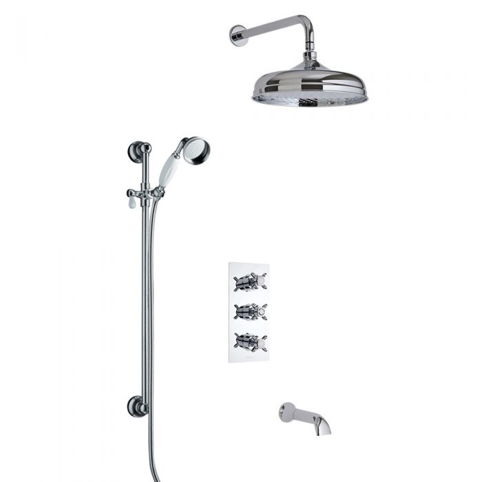 Milano Traditional Triple Diverter Thermostatic Valve, 150mm Head, Wall Arm, Slide Rail and Spout