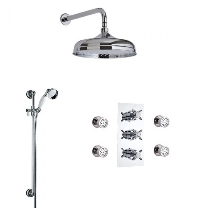 Milano Traditional Triple Diverter Thermostatic Valve, 150mm Head, Wall Arm, Slide Rail and Body Jets