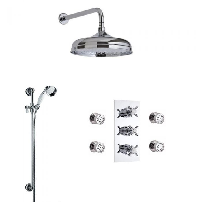 Milano Triple Diverter Shower Valve With Slide Rail and Body Jets