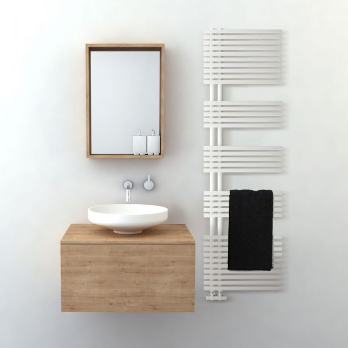 Lazzarini Way Bari - Mineral White Designer Heated Towel Rail - 1700mm x 500mm