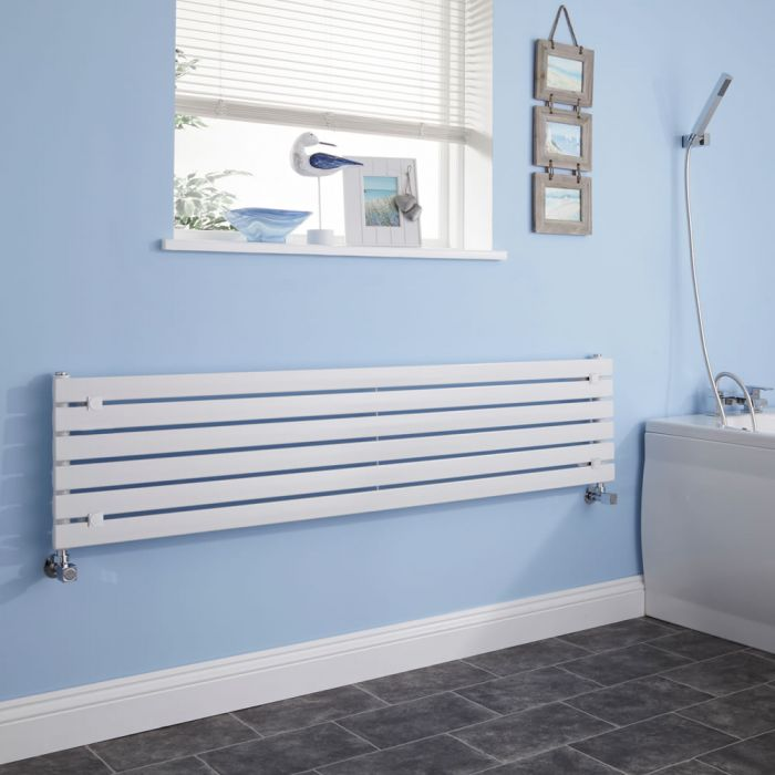 Milano Capri - White Flat Panel Horizontal Designer Radiator - 354mm x 1600mm