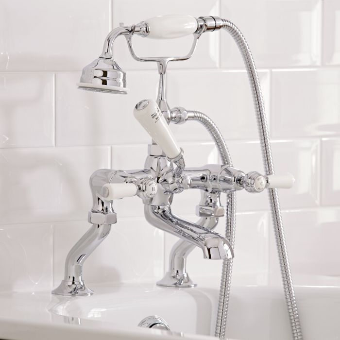 Hudson Reed Elizabeth - Traditional Lever Head Deck Mounted Bath Shower Mixer Tap - Chrome and White