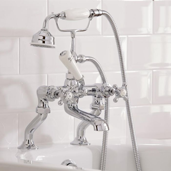 Hudson Reed Elizabeth - Traditional Crosshead Deck Mounted Bath Shower Mixer Tap - Chrome and White