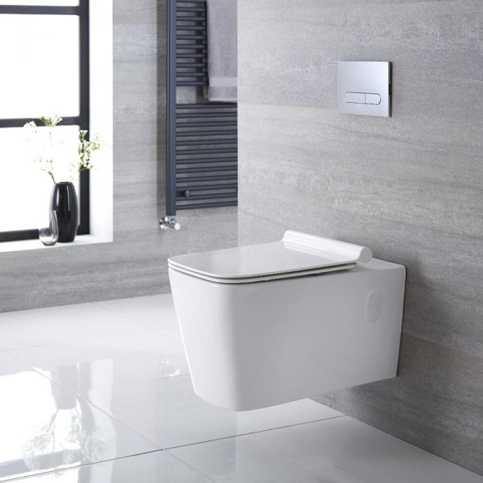 Milano Elswick - White Modern Square Wall Hung Toilet with Soft Close Seat - 360mm x 345mm