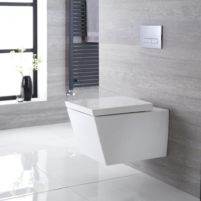 Milano Dalton - White Modern Square Wall Hung Toilet with Soft Close Seat