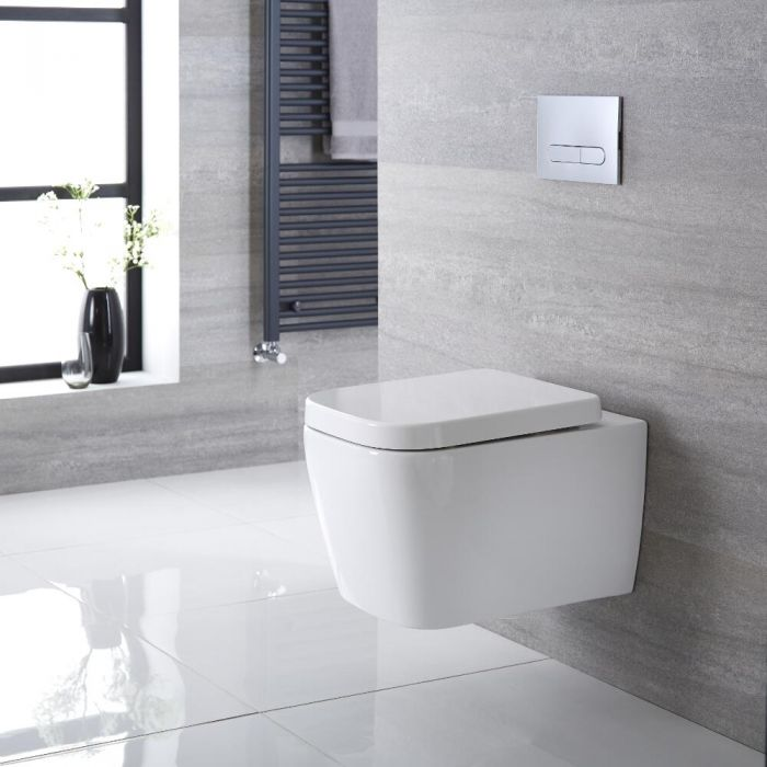 Milano Longton - White Modern Square Wall Hung Toilet with Soft Close Seat - 345mm x 350mm