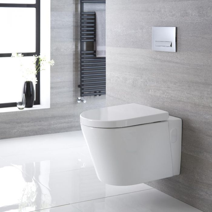 Milano Farington - White Modern Round Wall Hung Toilet with Soft Close Seat - 365mm x 350mm