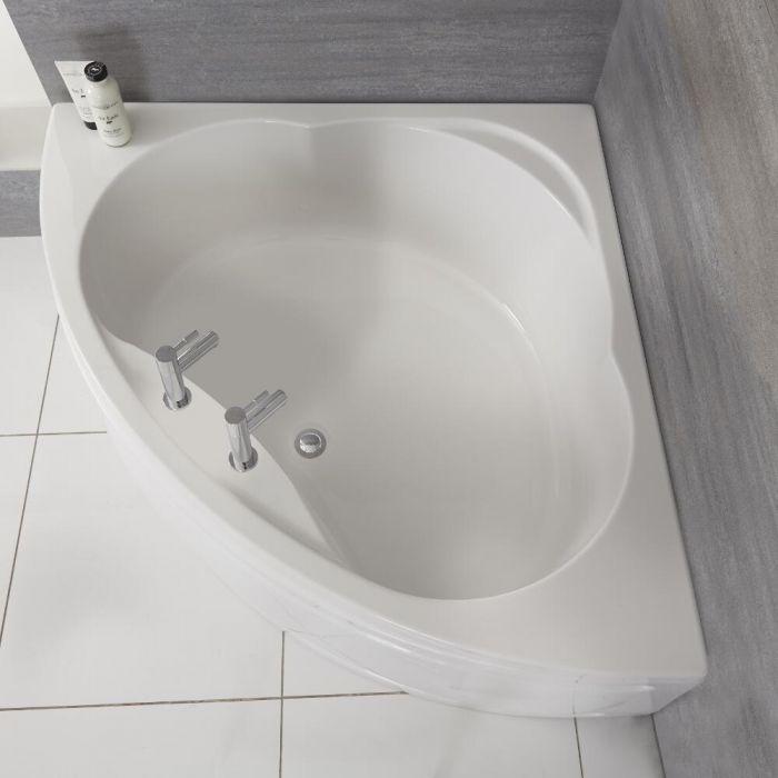 Milano Newby - White Modern Reversible Corner Bath with Panel - 1200mm x 1200mm
