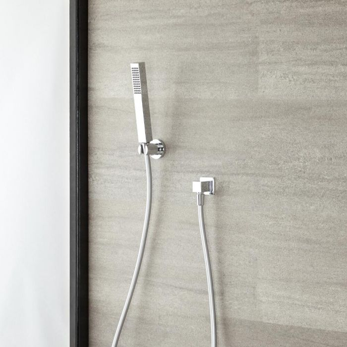 Milano Arvo - Modern Square Hand Shower with Wall Bracket and Outlet Elbow - Chrome